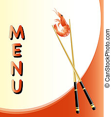 Menu card with prawn