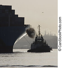 Tug & container ship