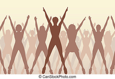 Aerobic dance - Editable vector illustration of women...