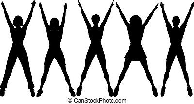 Aerobics - Editable vector silhouettes of five women doing...