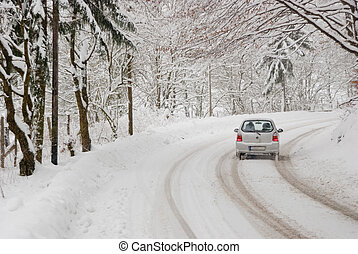 Traffic On A Winter Day - Driving with bad weather...