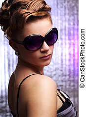 Young stylish woman wearing sunglasses - Young sexy woman...