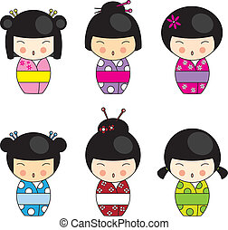 Kokeshi dolls in various designs isolated on white EPS10...