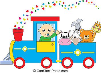 children\'s, train, animals
