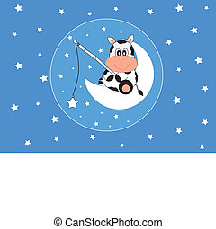 Cow catching stars - Baby boy arrival announcement. Cow...