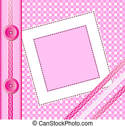 Pink album cover - Gingham photo album cover or frame with...