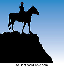 man on the horse on top of the mountain - vector...