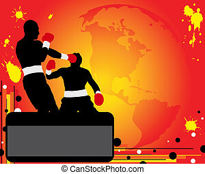 Advertising of boxing - Silhouettes of two boxers on ring...