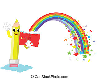 Pencil with book, vector - Pencil with book and rainbow,...