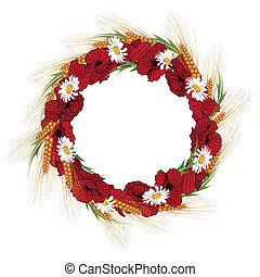 wreath of poppies, daisies and ears of wheat