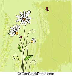 Ladybug on chamomile flower and grunge green grass...