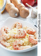 Shrimp with cooked rice