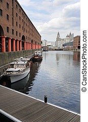 Albert Docks With Liverpool Landmark Buildings In The...