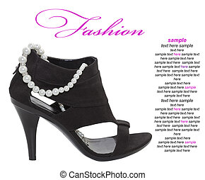 High heeled black shoe