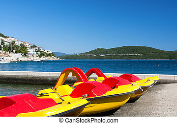 Pedal boats on adriatic coast
