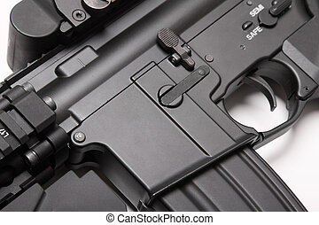 Receiver of US Army M4A1 assault rifle close-up. - Modern...