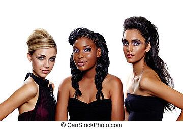 moda, mulheres, diferente, raças