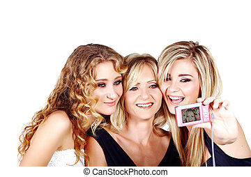 mother and daughter on white background - beautiful mother...