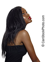 African beautiful woman with long hair - portrait of...