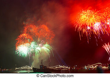 Salute, fireworks above the bay.