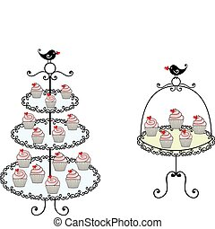cute cupcakes - cupcakes on tray, vector