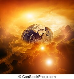 Planet in danger - Armageddon, dramatic dark background -...
