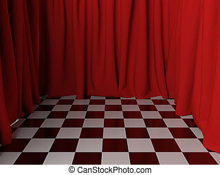 Surreal interior - Surreal interior with red curtains. 3d...