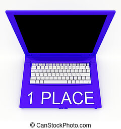 Laptop computer with word 1 place on it - 3D blank laptop...