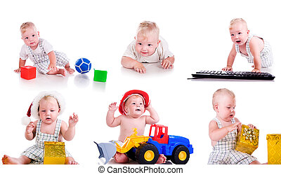 Set photos of a cute little boy over white background