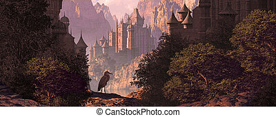 Castle And The Great Blue Heron - A mountainous canyon...