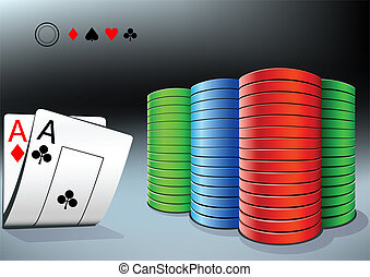 poker chips and two aces - poker stack and two aces on the...