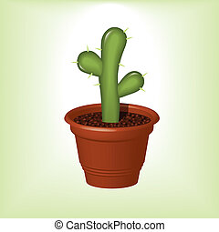 cactus - green cactus with thorns in flowerpot