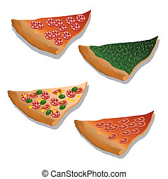 pizza - four kind of pizza on the white background