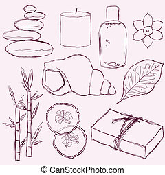 spa - set of doodle spa pictures