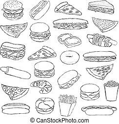 fast food - big doodle fast food set