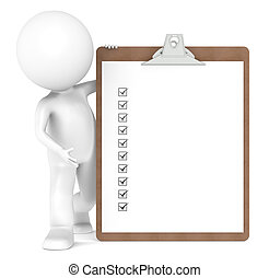 3D Little Human Character and a Clipboard with Check Marks -...