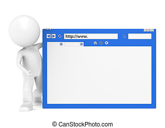 3D Little Human Character and a Browser Window - 3D Little...