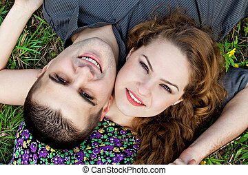 Cute couple portrait - happy lovers - Cute couple portrait -...