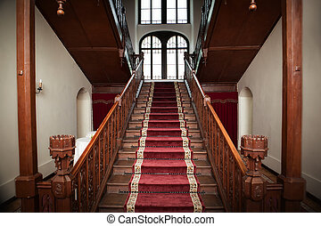 Old palace interior - wooden stairs - Old palace interior -...