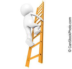 Success - 3D Little Human Character Climbing on an Orange...