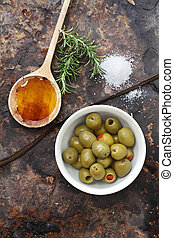 Olives, Oil and Salt - Spanish olives with olive oil,...
