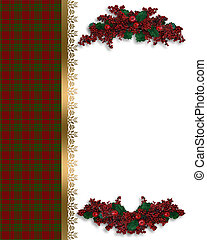 Christmas border red plaid
