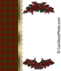 Christmas border red plaid - Image and illustraton...