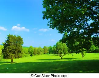 Painterly Connecticut rural summer landscape.