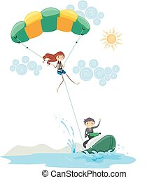 Parasailing - Illustration of a Couple Parasailing