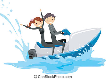 Jet Ski Couple - Illustration of a Couple Riding a Jet Ski...
