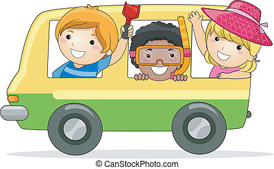 Summer Trip - Illustration of Kids on a Summer Trip