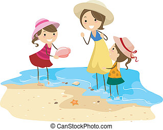 Family Picking Shells - Illustration of a Family Picking...