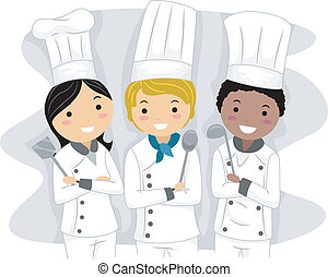 Chef - Illustration of Chefs with Different Ethnic...