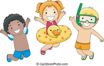 Summer Jump - Illustration of Kids Jumping with Glee